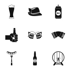 Holiday of beer icons set. Simple illustration of 9 holiday of beer vector icons for web