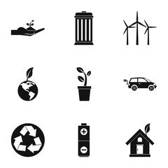 Purity of nature icons set. Simple illustration of 9 purity of nature vector icons for web
