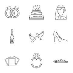 Wedding ceremony icons set. Outline illustration of 9 wedding ceremony vector icons for web