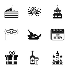 Birthday icons set. Simple illustration of 9 birthday vector icons for web