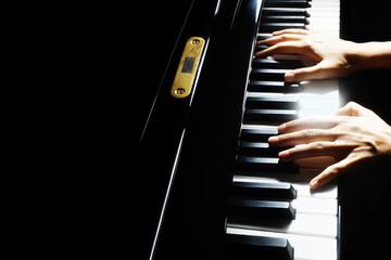 Poster Muziek Piano player. Pianist hands closeup