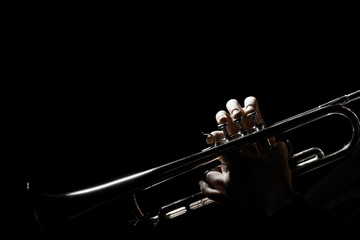 Photo sur Toile Musique Trumpet player. Hands of trumpeter playing jazz