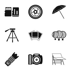 Photo icons set. Simple illustration of 9 photo vector icons for web