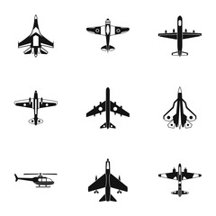 Military air transport icons set. Simple illustration of 9 military air transport vector icons for web