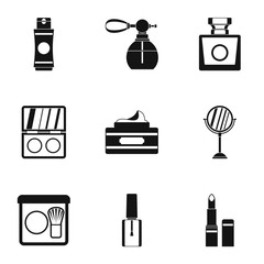 Beauty icons set. Simple illustration of 9 beauty vector icons for web