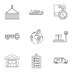 Cargo icons set. Outline illustration of 9 cargo vector icons for web