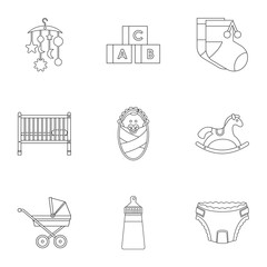 Things for baby icons set. Outline illustration of 9 things for baby vector icons for web