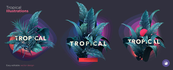 Set of Summer Bright tropical design elements. Print on T-shirts, sweatshirts, cases for mobile phones, souvenirs Wall mural