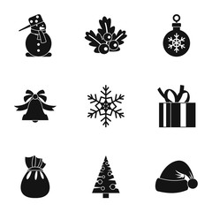 New year icons set. Simple illustration of 9 new year vector icons for web