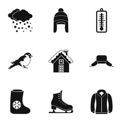 Weather winter icons set. Simple illustration of 9 weather winter vector icons for web