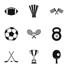 Accessories for training icons set. Simple illustration of 9 accessories for training vector icons for web