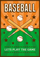 Baseball Sport Retro Pop Art Poster Signage