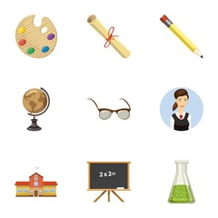 School icons set. Cartoon illustration of 9 school vector icons for web