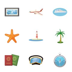 Trip to sea icons set. Cartoon illustration of 9 trip to sea vector icons for web