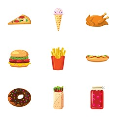 Calorie food icons set. Cartoon illustration of 9 calorie food vector icons for web