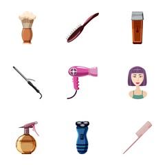 Hair cut icons set. Cartoon illustration of 9 hair cut vector icons for web