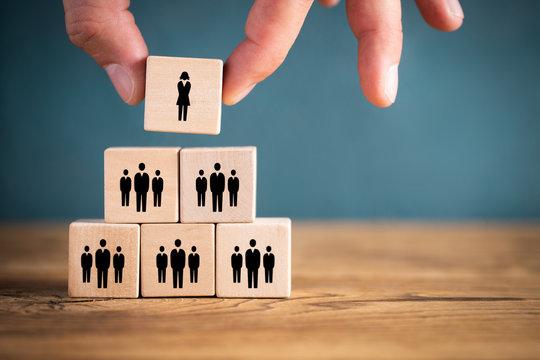 Unternehmensstruktur mit Frau an der Spitze