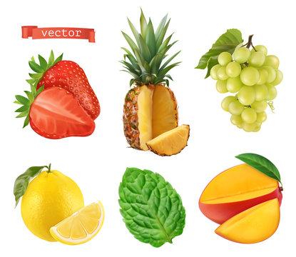Fresh fruit, 3d vector icons set. Realistic illustration