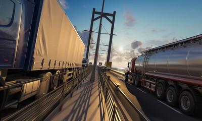 Trucks Moving in Opposite Directions on the Bridge