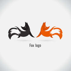 fox logo white and black. on white background. vector. Illustration. logo. symbol. abstract