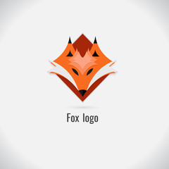 face fox logo white and black. on white background. vector. Illustration. logo. symbol. abstract. design. Animals