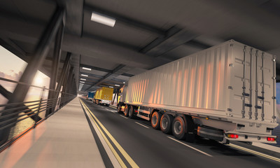 Semi Container Trucks in Motion on the Lower Deck