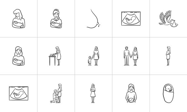 Maternity hand drawn outline doodle icon set for print, web, mobile and infographics. Baby infant nursery and family care vector sketch illustration set isolated on white background.