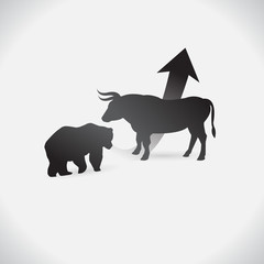 Bull and bear shapes that look like made of charts. on white background. vector. Illustration. logo. symbol. abstract. design. Animals. logo. The growing Business market