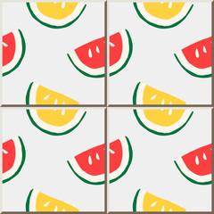 Ceramic tile pattern hand drawn water melon