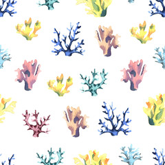 Seamless pattern with watercolor corals.