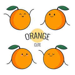 Funny cartoon orange character with different emotions on the face. Comic emoticon stickers set. Vector icons, isolated on white.