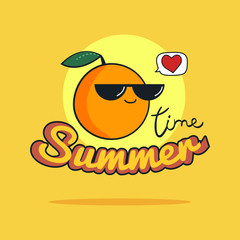 Summer Time illustration. Cute orange cartoon character