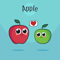 Cute Apple Character. Red and green fruit, vector. Cartoon vintage illustration.