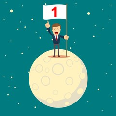 Happy businessman holding number one flag, a man in a business suit conquered the moon. Start up business concept. Stock flat vector illustration.