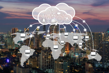 computer connection on world map with cloud technology concept on night city background.