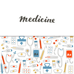 Medical Equipment Set with Pill, Stethoscope, Thermometer, Tablets and Syringe.