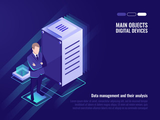 Server room, data management and storaging, information control