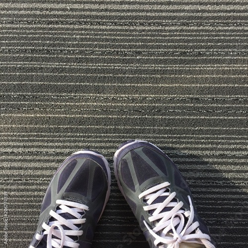 32008cc5 Female in Purple Sneakers Shoes Isolated. Top View. Woman Wear Runner Sneakers  Urban on Carpet Background