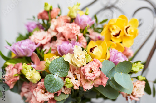Spring bouquet of flowers with orchids tulips and eustoma pink spring bouquet of flowers with orchids tulips and eustoma pink yellow flower arrangement mightylinksfo