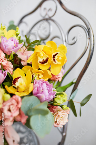Spring Bouquet Of Flowers With Orchids Tulips And Eustoma Pink