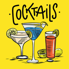 Alcoholic drinks set. Hand drawing vector illustration on yellow background.