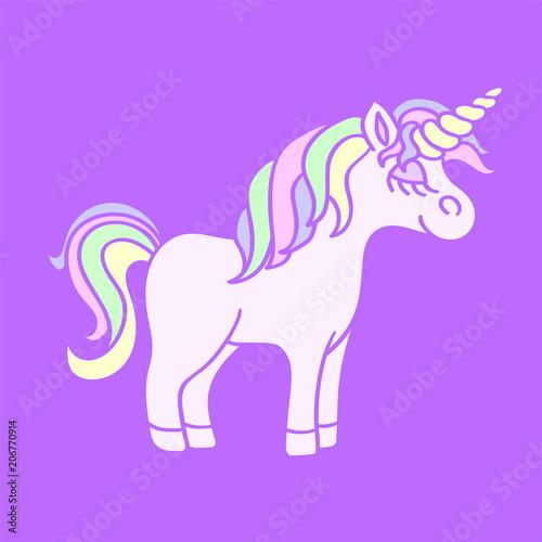 rainbow unicorn on the purple background fotolia com の ストック画像