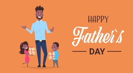 happy father day family holiday african daughter and son present gifts for dad concept greeting card flat vector illustration