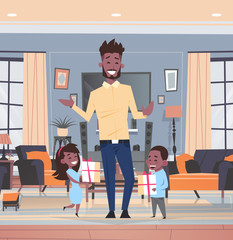 happy father day family holiday daughter and son present gifts for dad in living room greeting card flat vector illustration