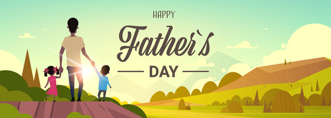 happy father day african family holiday daughter and son hold dad hand stand back looking sunset concept greeting card flat vector illustration