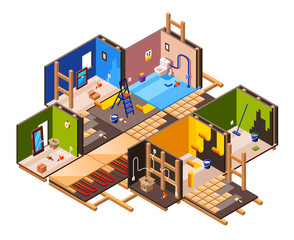 Vector isometric home interior renovation and repair work process stages in house cross section. Plumbing, sanitary ware installation tile laying in bathroom Wall plastering, painting wallpaper gluing