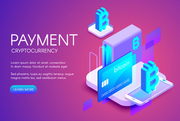 Bitcoin card payment vector illustration of cryptocurrency commerce or digital banking technology. Crypto currency mining farm and smartphone internet online shopping on purple ultraviolet background
