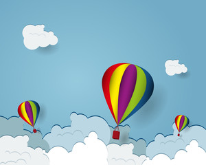 hot air balloon cartoon flying over cloud