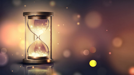 hourglass with shining light