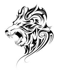 Lion head tribal tattoo